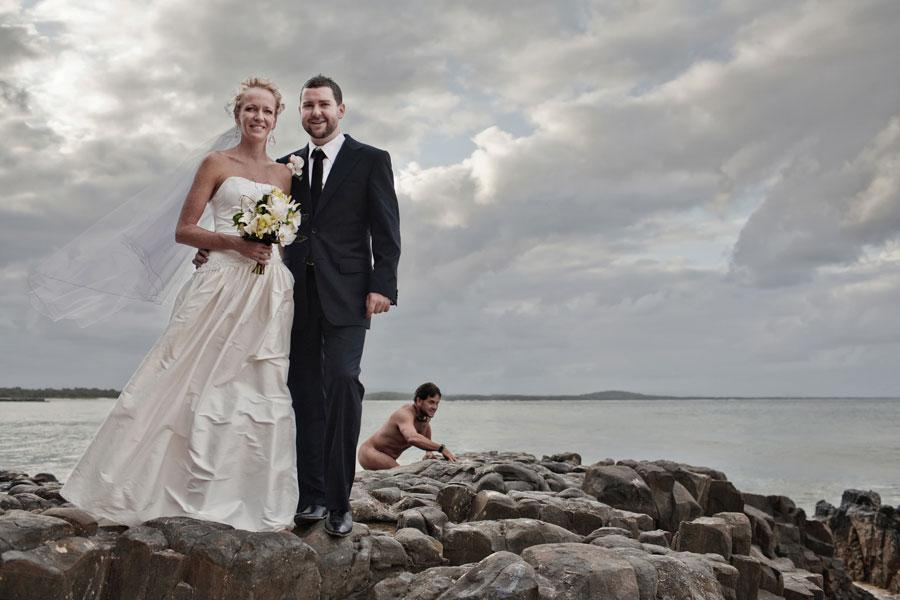 A bride, a groomer and a naked swimmer