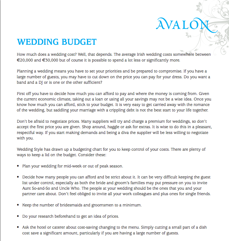 Wedding Budget Planner Workbooks And Pdf S Course Content